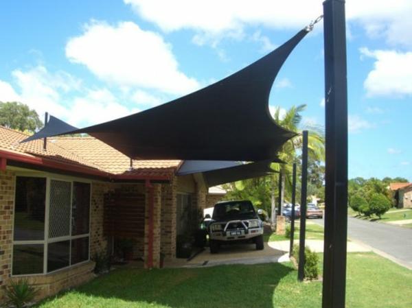 schwarz schattensegel idee auto hinterhof garten