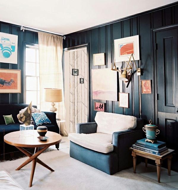 schwarze innenwände wohnzimmer originell idee design