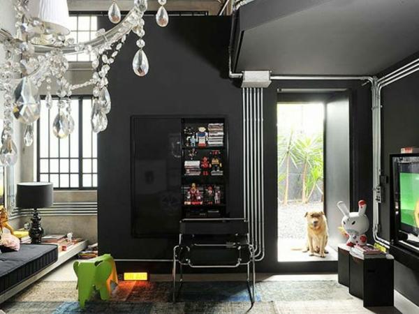 Schwarze Interieur Design Ideen Wohnzimmer Luxus