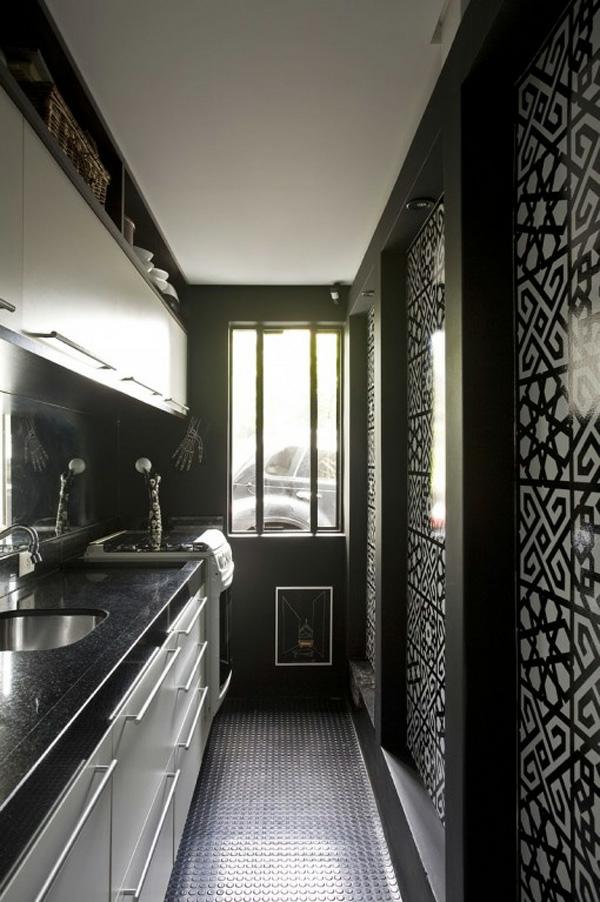 schwarze wände idee design ausstattung küche