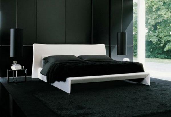 schwarze wände idee schlafzimmer design weiss kopfbrett