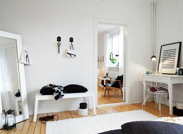 schwarze und weisse elemente design idee schlafzimmer raum interieur