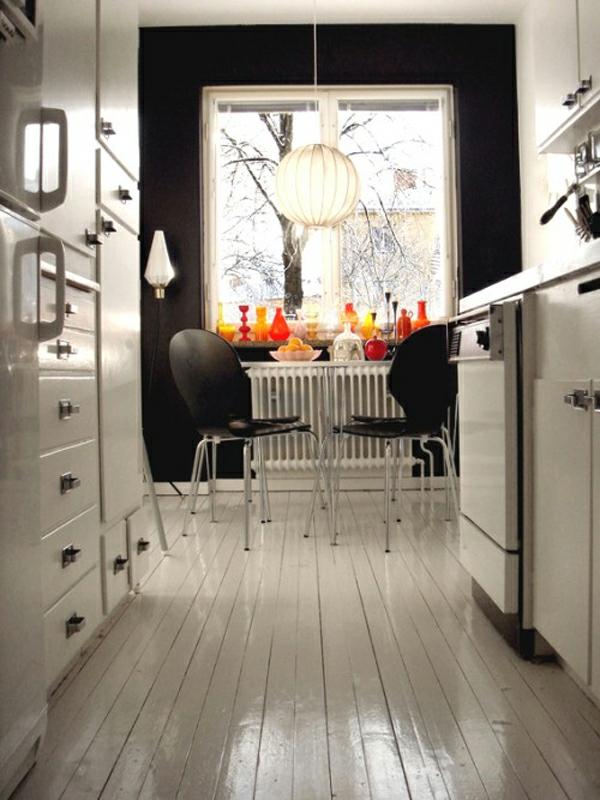 küche idee raffiniert schwarz wand innen design