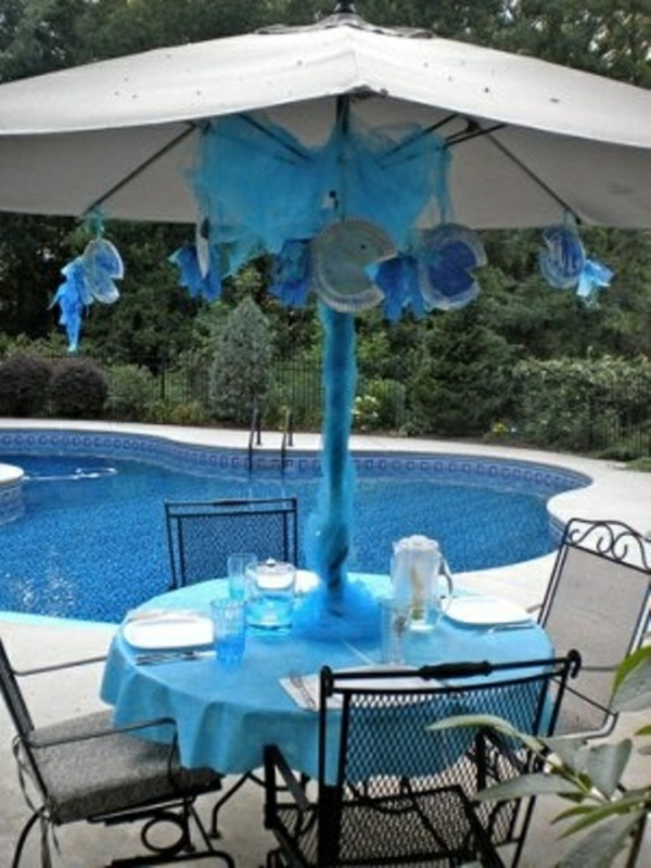 schwimmbad schirm schatten pool outdoor patio design