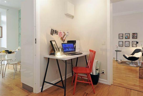 skandinavische schreibtische idee orange farbe haus rot stuhl