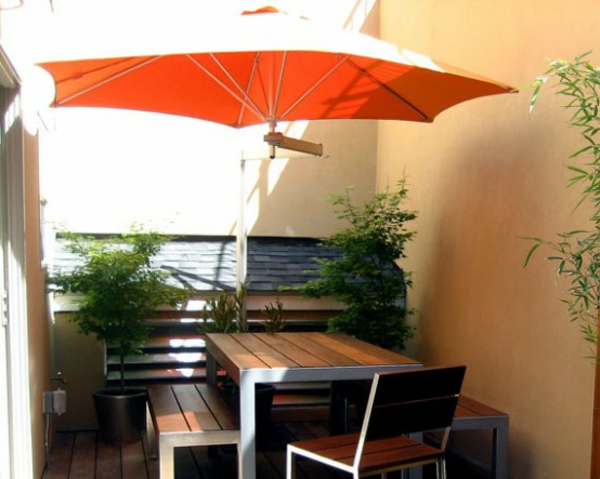 sonne schirm wandmontage ideen schatten patio