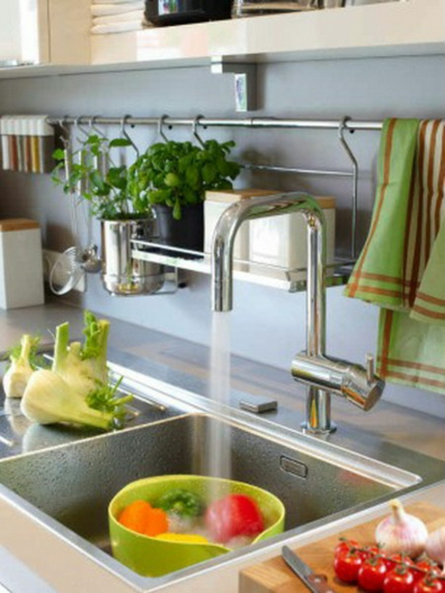 spülbecken frische gemüse küchenschiene ordnung