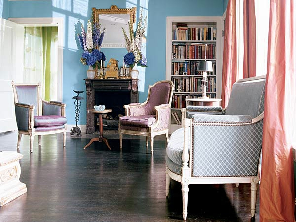 stilvolle blau und violet interieur farben ausstattung.