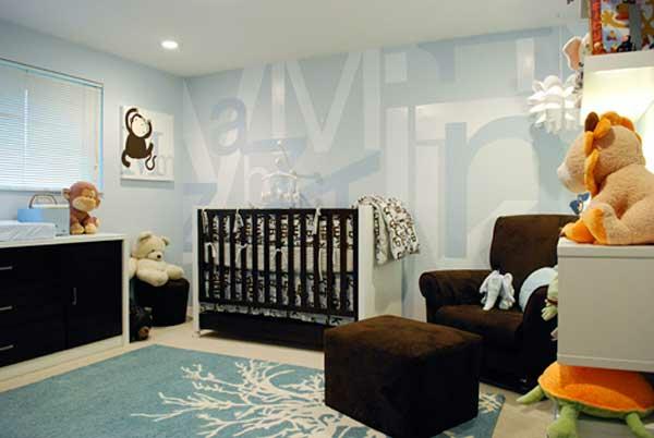 teddy kinderzimmer blau farbe braun motive idee design