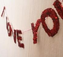 Handgemachte glänzende Girlanden zum Valentinstag