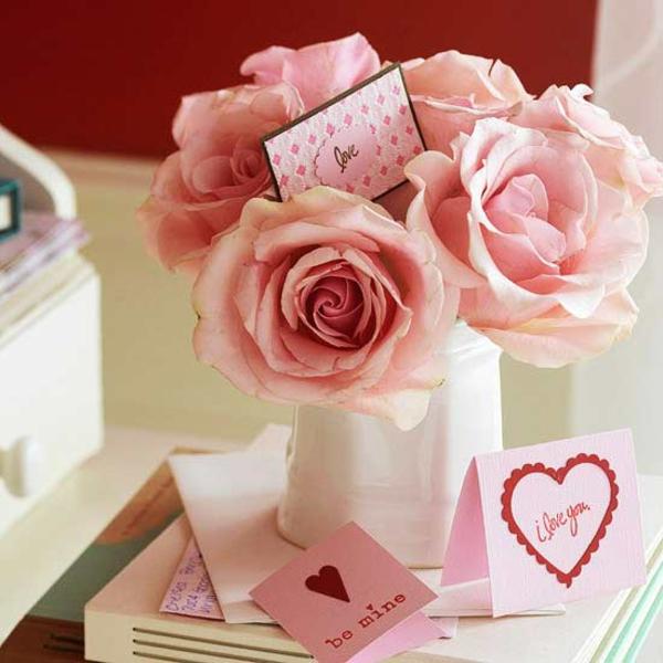 valentinstag rosen vase dekoration