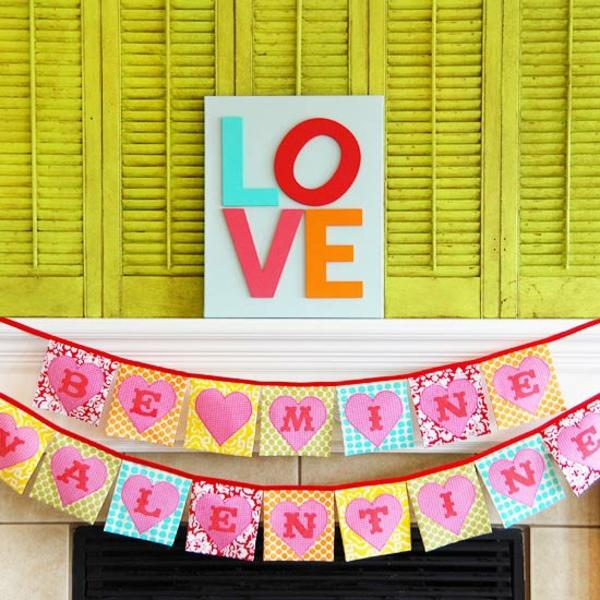 Valentinstag Girlande Kaminsims Bunt