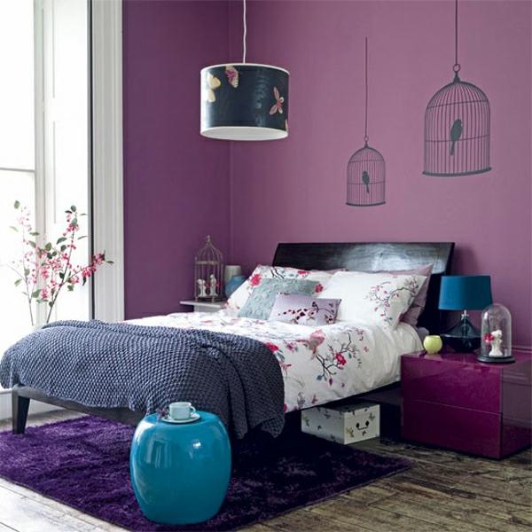 blau und violet interieur farbe elemente