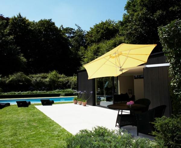 wandmontage ideen patio sonnenschirm schatten