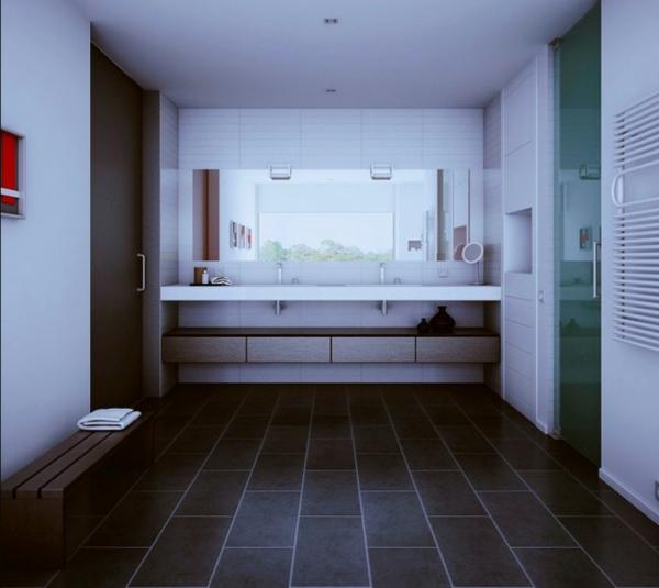 Badezimmer Dunkler Boden Helle Wand : Ideen  Innenausstattung vom Designer minimalistisches Aussehen