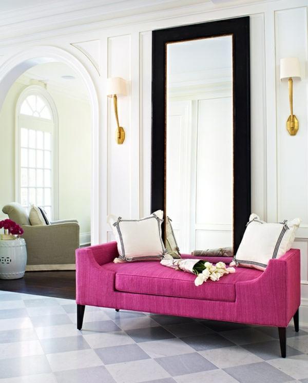 Weiße Interieurs idee design akzent rosa sofa elegant