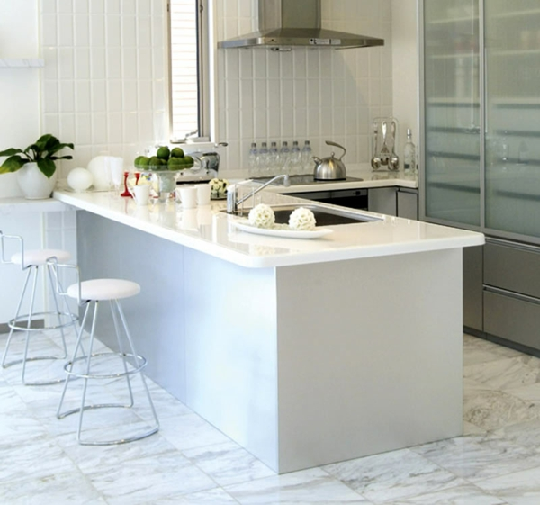 weisse küche minimalistisch design idee essecke