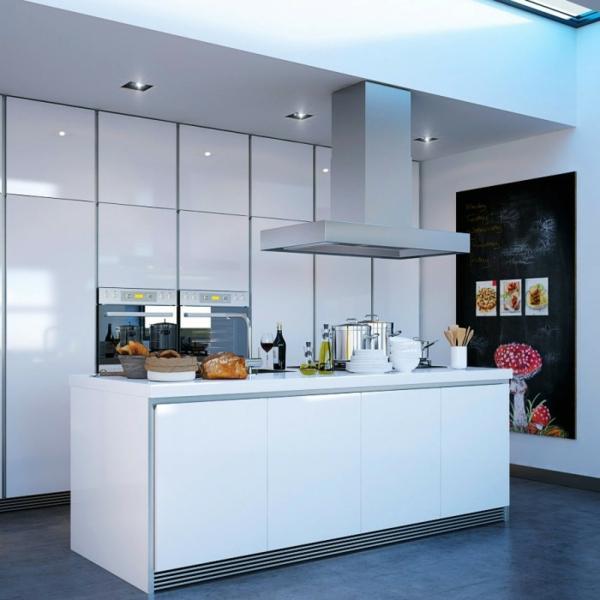 weisse kücheninsel design idee interieur minimalistisch