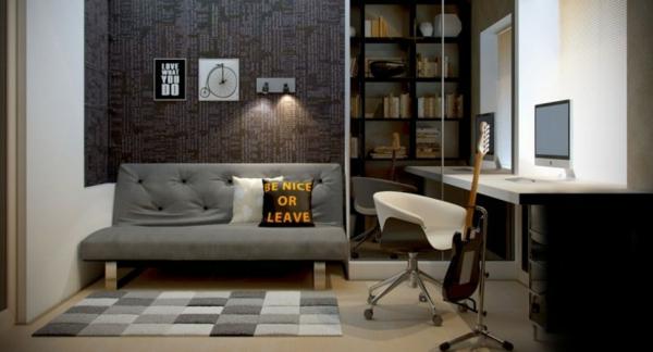 Arbeiten sie von zu Hause aus Interior Design graues Büro