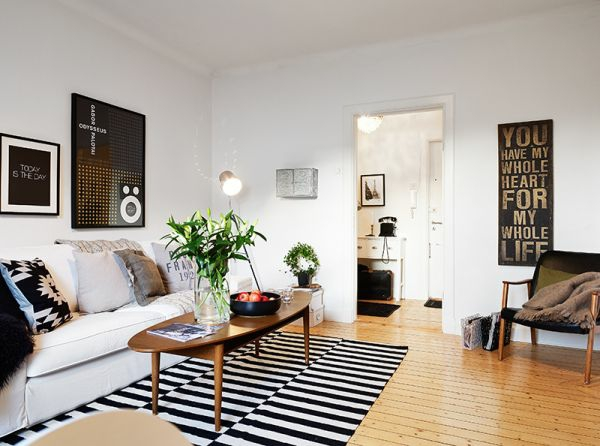 wohnzimmer design idee farben neutral schwarze und weisse elemente