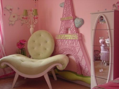 kinderzimmer - wundervoll design idee rosa farbe pariser eiffelturm
