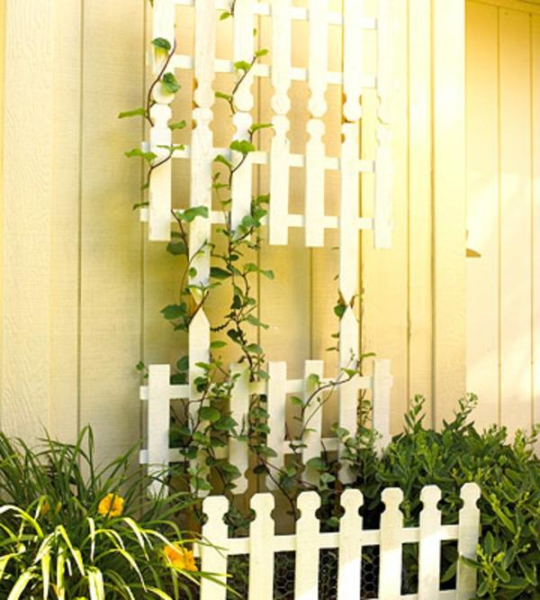 deko ideen garten kletterpflanzen flechtwerk