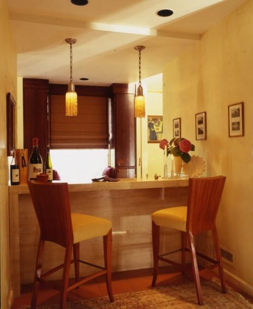 Hausbar Design Arbeitsplatte Murmel Barhocker Lampen