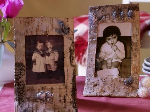 Innenausstattung mit Baumrinde Bilderrahmen retro bilder Tisch