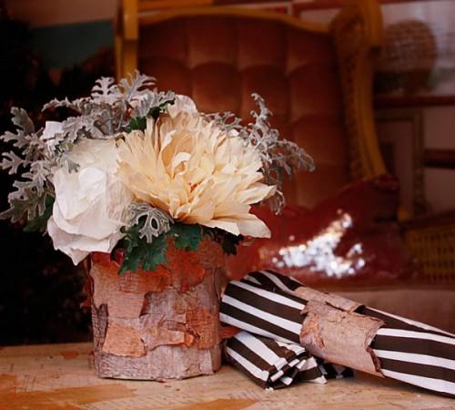 Innenausstattung mit Baumrinde - Blumentöpfe Design Tisch Interieur