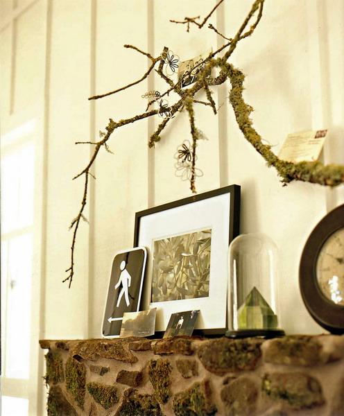 Innendekoration mit Zweigen Kamin Dekor Bilder Tapeten