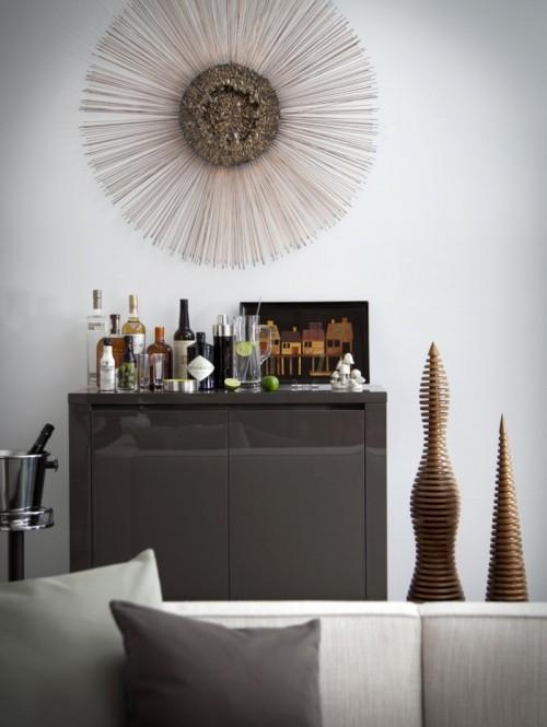 Kleiner Hausbar Schrank grauer Dekor Glas