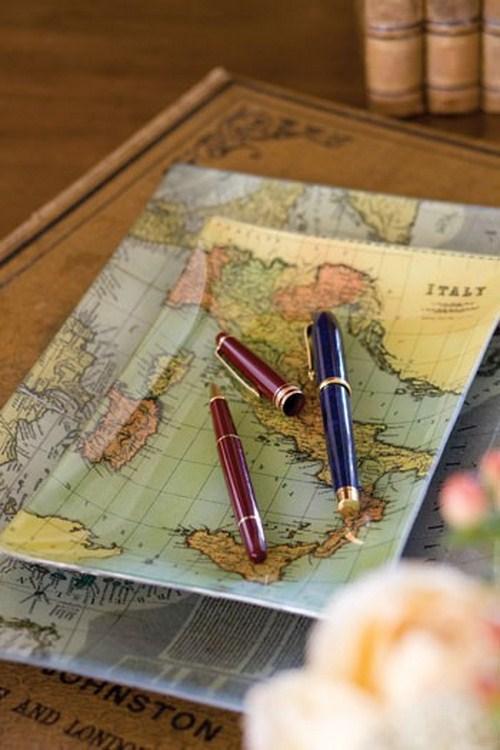 Kleiner Teller Landkarten Dekor Design Tisch