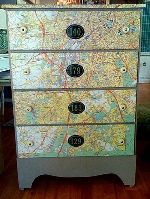 Kommode Landkarte Dekor Stadtplan Idee