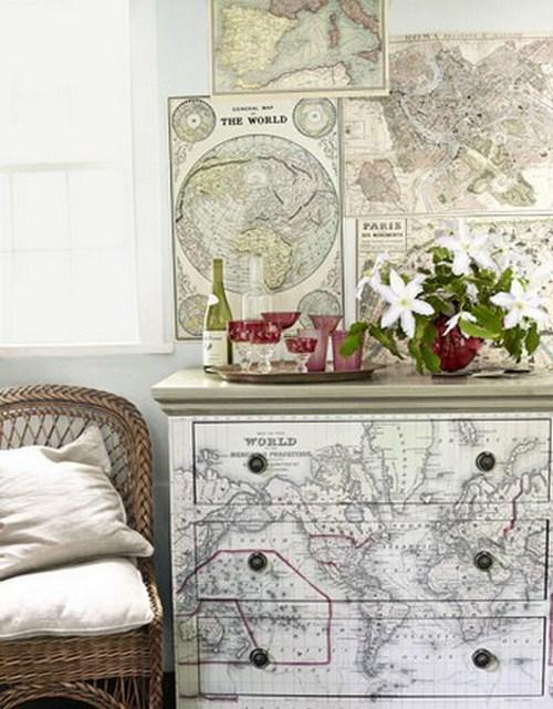 Kommode-Landkarten-Dekor-Idee-Zuhause