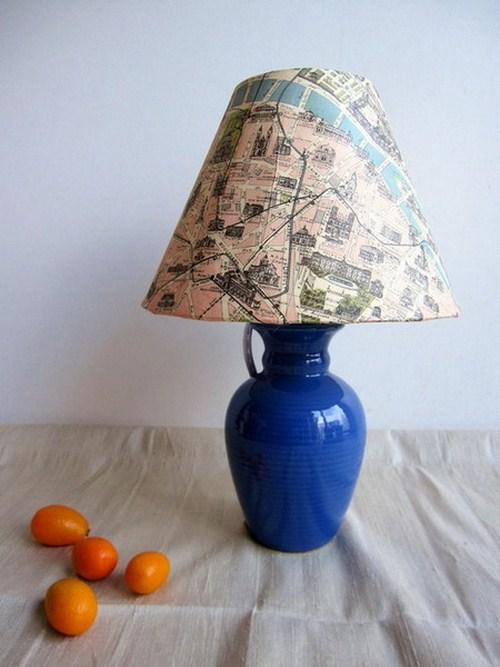 Innendekoration mit Landkarten Stadtplan Dekoration Lampe Wohnzimmer Tisch