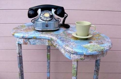 Landkarten kleine Tisch Design Idee