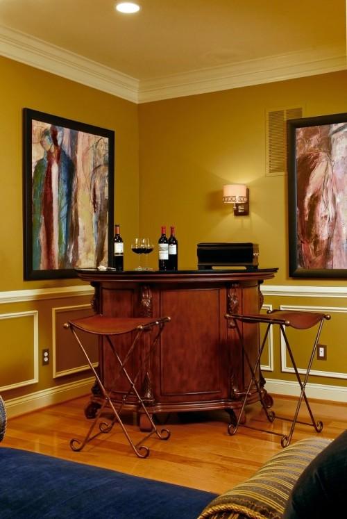 Luxuriöses Hausbar Design Leder Barhocker goldene Wände