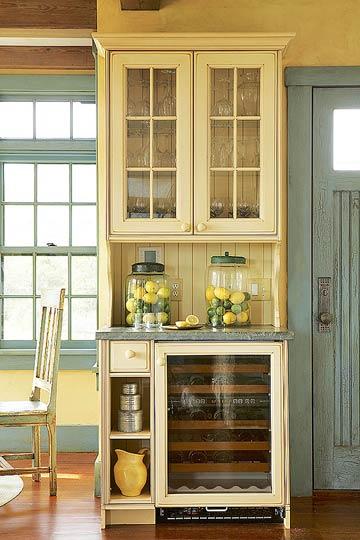 Rustikales Hausbar Design Schränke Glas Stühl