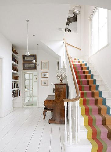Stilvolle Treppendekoration Flur Holzfußboden Interieur Design