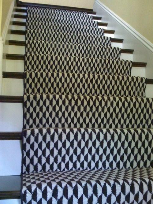 Vorleger Schwarz Weiß Muster Treppe Zuhause