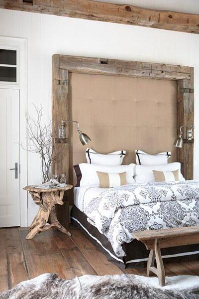 Zweigen Vase Nachttich Schlafzimmer gemütliches Bett