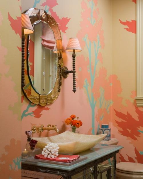 asiatisch formen design waschbecken tapeten badezimmer