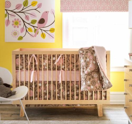 attraktiv gelbe rosa interieur elemente im babyzimmer