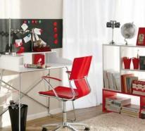 Auffälliges, funktonal eingerichtetes Heimbüro mit roten Akzenten