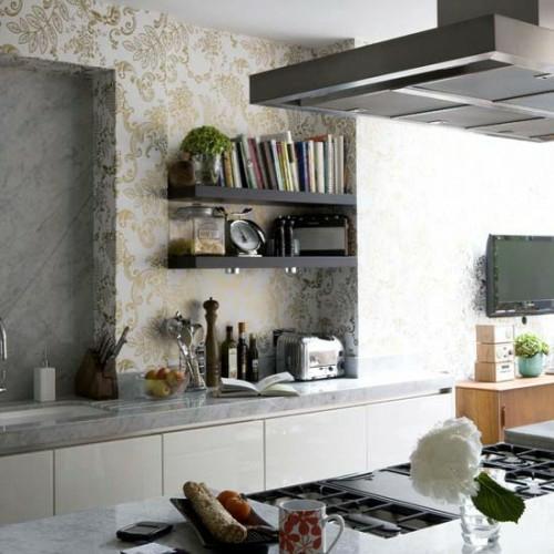bücherregale wandverzierungen tapeten kreative Küchenspiegel Ideen