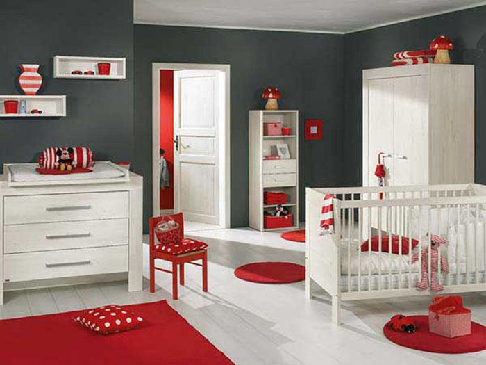 babyzimmer gestalten babyzimmer set rot grau
