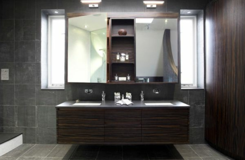 dunkle badezimmer design ideen - holzmöblierung und graue fliesen