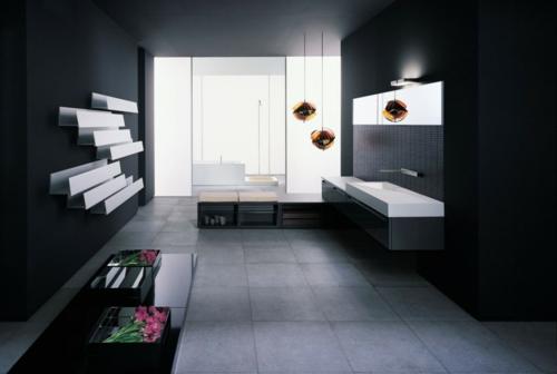 Badezimmer Schwarz Kreativ : Dunkle badezimmer design ideen
