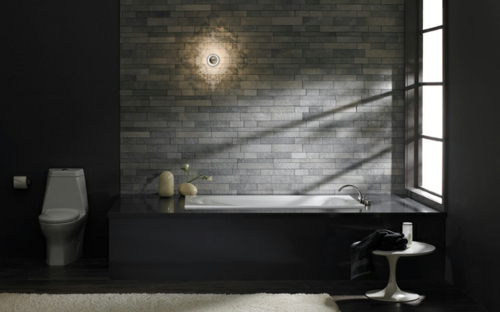 33 Dunkle Badezimmer Design Ideen
