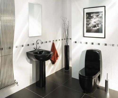 bad einrichtung schwarzes waschbecken kontrast